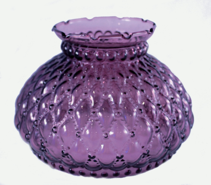 Fenton glass quilted diamond beaded purple amethyst for Purple beaded lamp shade