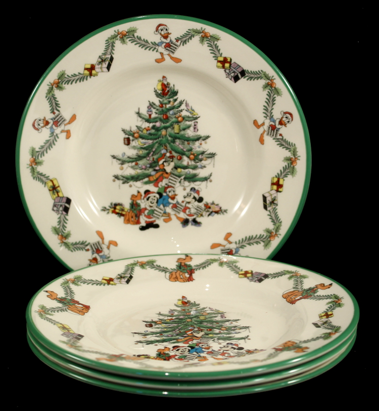 Set of 4 spode disney christmas tree celebration 6 1 2 for Christmas canape plates