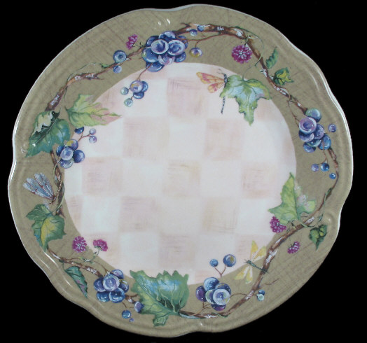TRACY PORTER CLARET COLLECTION GRAPES 4 DINNER PLATES SET Mint LoCOMBOShip